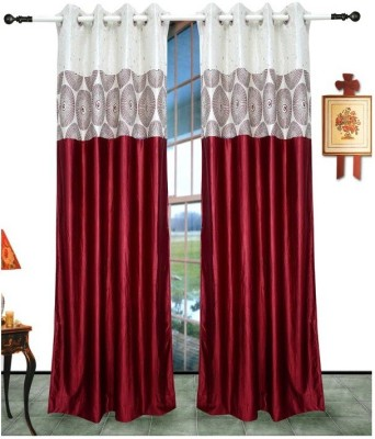 Shri Sai Handloom Polyester Red Self Design Ring Rod Door Curtain