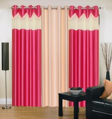 Brand Decor Polyester Pink, Beige Solid Eyelet Door Curtain