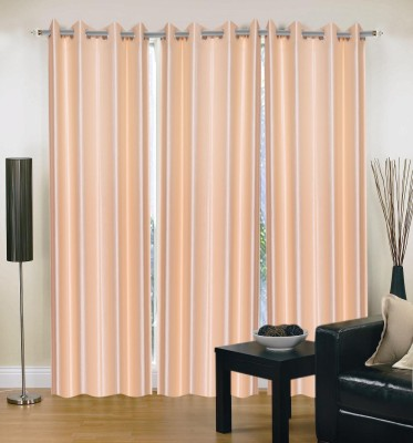Home And Craft Polyester Peach Plain Eyelet Door Curtain
