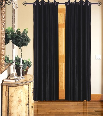 Home Fashion Gallery Polyester Black Plain Eyelet Long Door Curtain