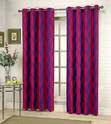 Kings Polycotton Purple Motif Tab Top Door Curtain