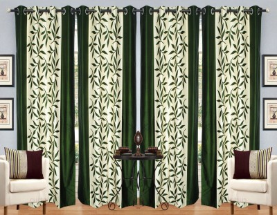 Handloom Hut Polyester Green Floral Eyelet Window Curtain
