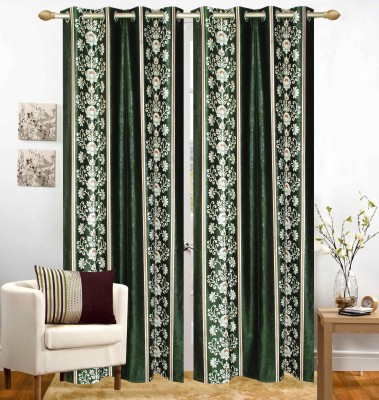 Homefab India Polyester Green Floral Eyelet Window Curtain