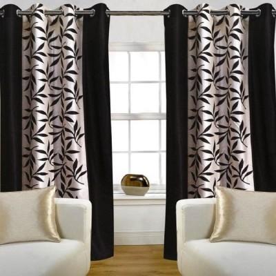 Golden Fur Polyester Brown Printed Eyelet Door Curtain