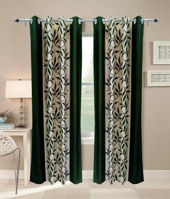 Homesazz Polyester Green Floral Eyelet Door Curtain