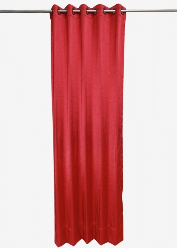 ANIQ Polycotton Red Plain Curtain Door Curtain(210 cm in Height, Single Curtain)