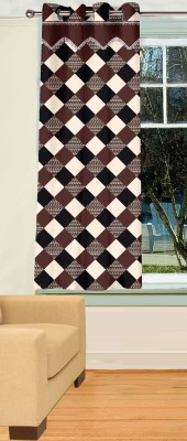 Trendy Home Polyester Brown Geometric Eyelet Window Curtain