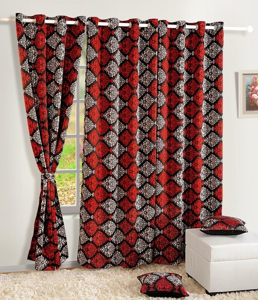 Swayam Silk Red, Beige Solid Eyelet Long Door Curtain