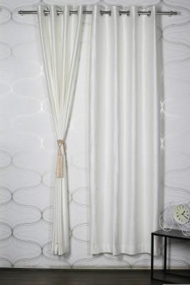 Homelife Polyester Beige Solid Eyelet Door Curtain