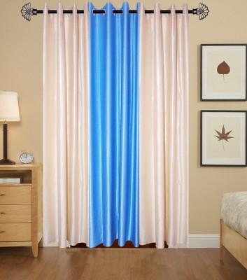 IndianOnlineMall Polyester 2Cream+SkyBlue Plain Eyelet Long Door Curtain