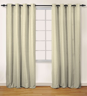 Oro Decor Polyester Vanilla Striped Eyelet Window Curtain
