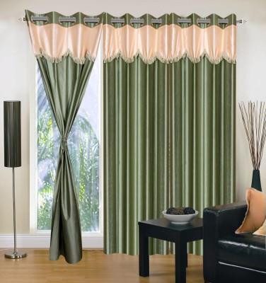 Maa Sharda Exports Polyester Green Self Design Eyelet Door Curtain