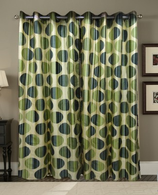 Zigma Collections Polyester Green Printed Eyelet Door Curtain