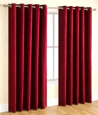 Handy Texty Polyester Maroon Plain Eyelet Window Curtain