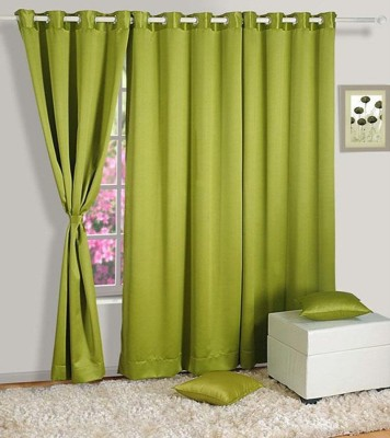 White Wave Polyester Green Solid Eyelet Door Curtain