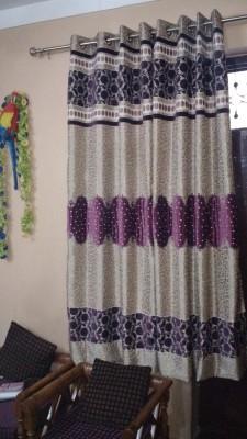 FC Polycotton Dark Pink Solid Eyelet Long Door Curtain
