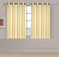 ExpressionsHome Polyester Beige, Beige Solid Eyelet Window Curtain(152 cm in Height, Pack of 2)