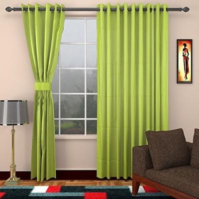 CPM HANDLOOM Cotton Green Plain Eyelet Window & Door Curtain