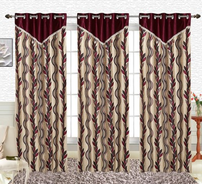 Comfort Zone Polyester Maroon And Golden Leaf Abstract Eyelet Long Door Curtain