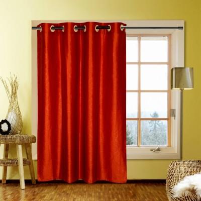 Handloom Factory Polycotton Orange Floral Eyelet Window Curtain