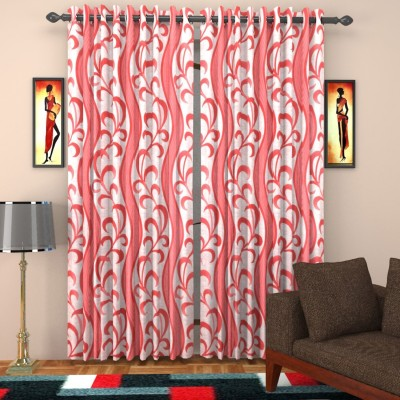 SurprizeMe Polyester Red Printed Eyelet Window Curtain