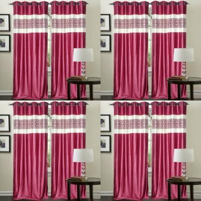 Decor Vatika Polyester Pink Abstract Eyelet Door Curtain