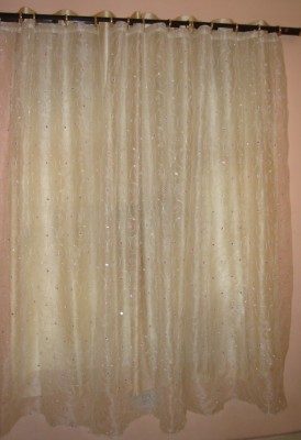 Little Home Polyester White Embroidered Ring Rod Window & Door Curtain