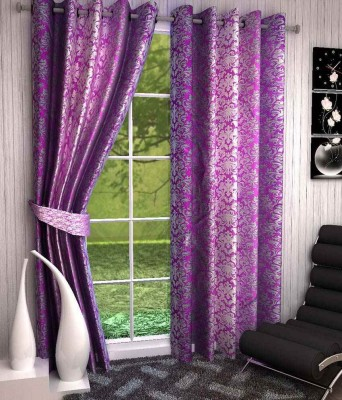Divine Polyester Purple Printed Eyelet Window & Door Curtain