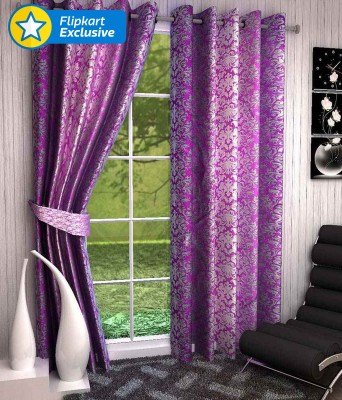 Zesture Polyester Multicolor Printed Eyelet Door Curtain