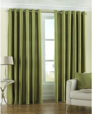 Shopgalore Polyester Green Plain Eyelet Window & Door Curtain