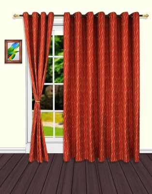 S9home by Seasons Polyester Red Striped Eyelet Door Curtain