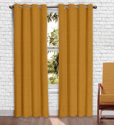 Story @ Home Jacquard Mustard Printed Eyelet Window Curtain