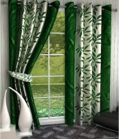 Home Pictures Polyester Green Abstract Ring Rod Window Curtain(152 cm in Height, Pack of 2)