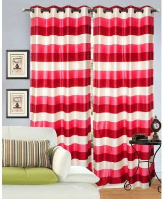 HandloomVilla Polyester Multicolor Floral Eyelet Door Curtain