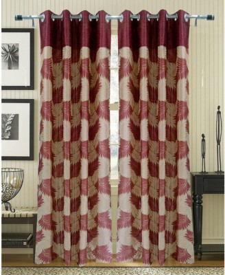 Fresh From Loom Polyester Mehroon Floral Eyelet Door Curtain