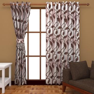 Kanha Polyester Brown Floral Eyelet Door Curtain