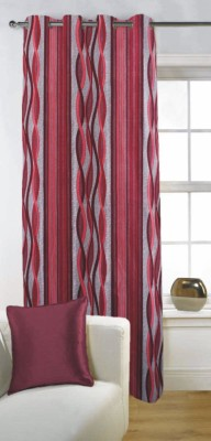 Fabutex Polyester Red Abstract Eyelet Door Curtain