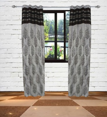 Gaurav Curtains Polyester Grey Floral Eyelet Window Curtain
