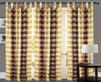 New Ladies Zone Cotton Multicolor Striped Tab Top Window Curtain