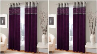 BSB Trendz Polyester Purple Printed Eyelet Door Curtain
