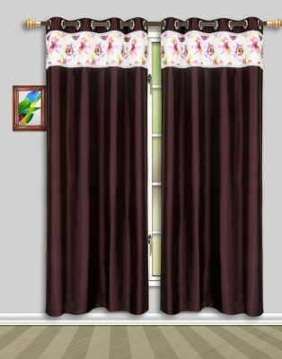 Harry Tex Polyester Wine Floral Eyelet Door Curtain