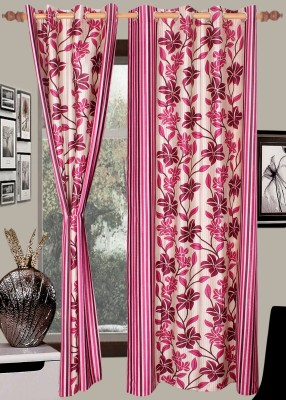 Wraps N Drapz Polyester Beige, Pink Floral Eyelet Door Curtain