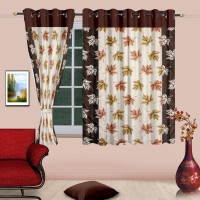 Cortina Polyester Brown Solid Eyelet Window Curtain(150 cm in Height, Single Curtain)