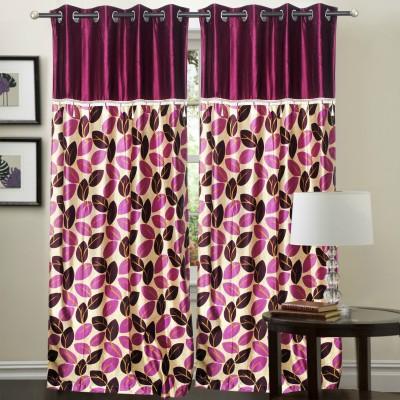 Hargunz Polyester Lavender Floral Eyelet Long Door Curtain
