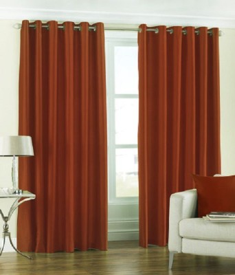 Deco Home Polyester Rust Solid Eyelet Door Curtain