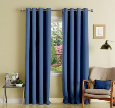 Lushomes Polyester Blue Plain Eyelet Long Door Curtain