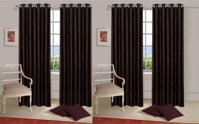 Rangoli Polyester Black Self Design Eyelet Door Curtain