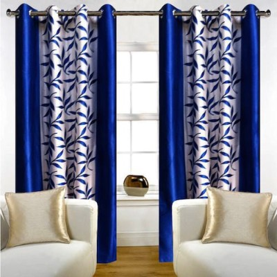 Qualityfab Polyester Blue Printed Eyelet Door Curtain