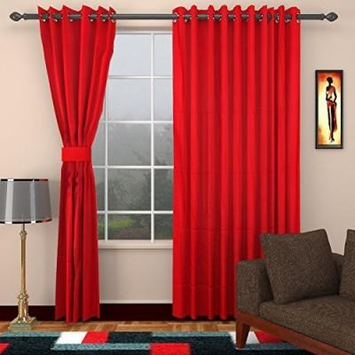 CPM HANDLOOM Cotton Red Plain Eyelet Window & Door Curtain