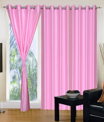 MSJ Polyester Pink Solid Eyelet Door Curtain